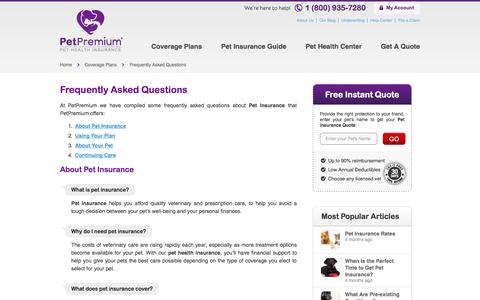 Screenshot of FAQ Page petpremium.com - Frequently Asked Questions - captured Sept. 19, 2014