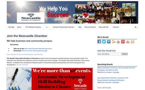 Screenshot of Signup Page newcastle-chamber.org - Join the Newcastle Chamber - Newcastle Chamber of Commerce - captured March 5, 2016