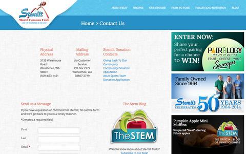 Screenshot of Contact Page stemilt.com - Contact Stemilt Growers - captured Nov. 2, 2014