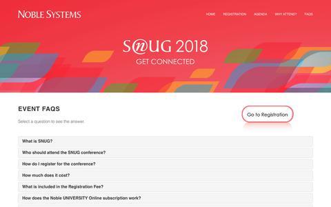 Screenshot of FAQ Page noblesys.com - SNUG 2018 - captured Dec. 11, 2018