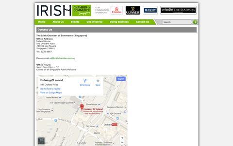 Screenshot of Contact Page irishchamber.com.sg - Contact Us - captured Oct. 6, 2014