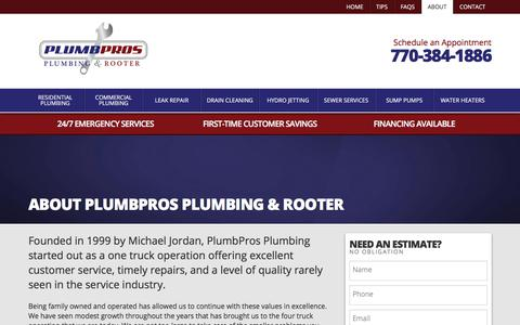 Screenshot of About Page plumbpros.com - About Plumbpros Plumbing | PLUMBPROS Plumbing & Rooter - captured Aug. 11, 2017