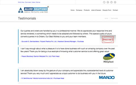 Screenshot of Testimonials Page alliedsolutions.com - Allied Solutions | Plastic Processing Industry | Compressors | Mumbai, India. |   Testimonials - captured Oct. 4, 2014