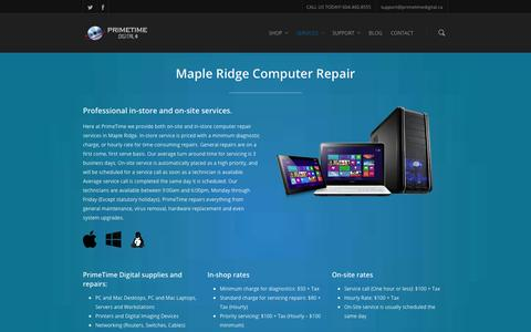 Screenshot of Services Page primetimedigital.ca - Maple Ridge Computer Repair | Network Services | PrimeTime Digital - captured Sept. 30, 2014