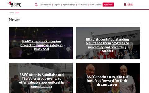 Screenshot of Press Page blackpool.ac.uk - News | www.blackpool.ac.uk - captured Oct. 6, 2018