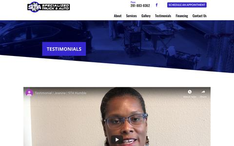 Screenshot of Testimonials Page specializedtruckandauto.com - Testimonials - Specialized Truck & Auto Service - captured Oct. 20, 2018