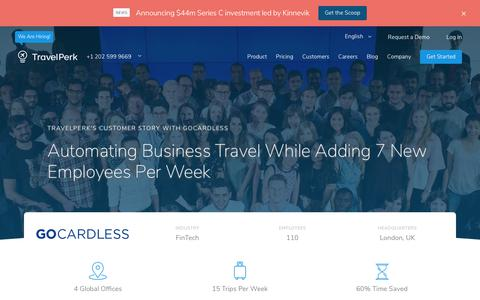 Screenshot of Case Studies Page travelperk.com - Corporate Travel Costs Reduced at GoCardless - Case Study |Travelperk | TravelPerk - captured Oct. 23, 2018
