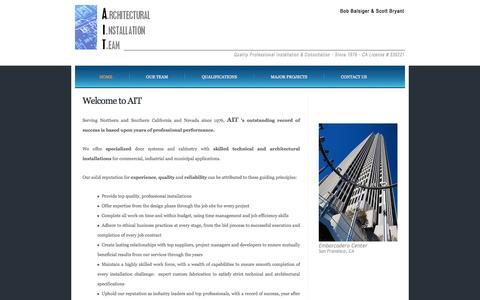 Screenshot of Home Page architecturalinstallationteam.com - AIT - Home - captured June 30, 2016