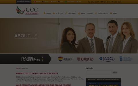 Screenshot of About Page gccscholarships.com - Online Courses at Top Online Universities | GCC Scholarships - captured Sept. 26, 2014