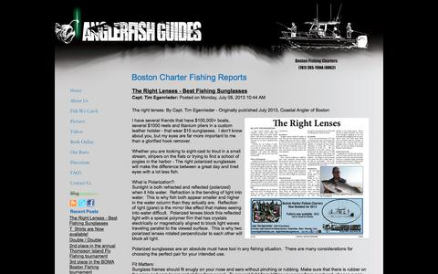 Screenshot of Blog anglerfishguides.com - Boston Charter Fishing Reports - captured July 30, 2018