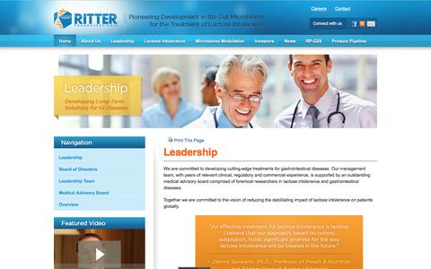 Screenshot of Team Page ritterpharmaceuticals.com - Ritter Pharmaceuticals, Leading Lactose Intolerance Researchers | Ritter Pharmaceuticals - captured Dec. 1, 2016