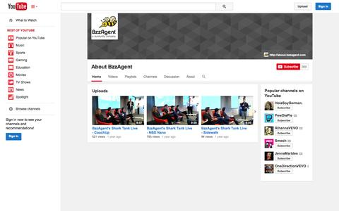 Screenshot of YouTube Page youtube.com - About BzzAgent  - YouTube - captured Oct. 23, 2014