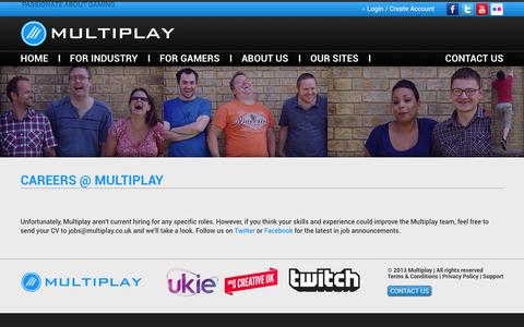 Screenshot of Jobs Page multiplay.com - Careers - Multiplay : Multiplay - captured Sept. 19, 2014