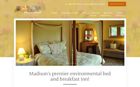 Screenshot of Home Page arbor-house.com - Bed and Breakfast hotel Madison, WI Arbor House, Environmental Inn - captured March 11, 2016