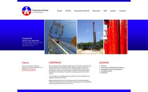 Screenshot of Home Page ta-rigs.com - TA Rigs | Tridiantara Alvindo - captured Oct. 1, 2014