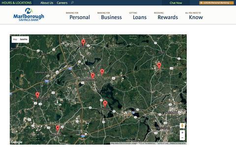Screenshot of Locations Page agreatbank.com - Branches Archive - Marlborough Savings Bank - captured Nov. 27, 2016