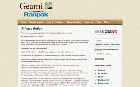 Screenshot of Privacy Page geami.com - Privacy Policy - captured Sept. 29, 2014