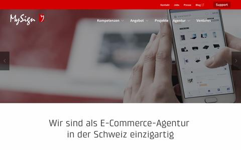 Screenshot of Home Page mysign.ch - MySign AG. E-Commerce-Agentur und Softwarehaus. - captured Aug. 22, 2016