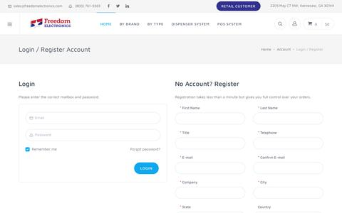 Screenshot of Login Page freedomelectronics.com captured Aug. 27, 2018