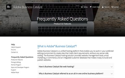 Screenshot of FAQ Page businesscatalyst.com - Product Information FAQs | Adobe Business Catalyst - captured Feb. 8, 2017