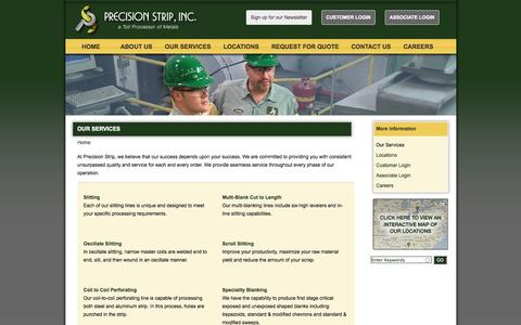 Screenshot of Services Page precision-strip.com - slitting, toll slitting, metal processing, light gauge slitting, heavy gauge slitting, steel slitting, aluminum slitting, copper slitting | Precision Strip - captured Oct. 2, 2014