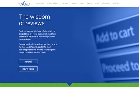 Screenshot of Home Page About Page Contact Page Jobs Page Team Page revuze.it - revuze | The Wisdom of Reviews - captured Sept. 12, 2014