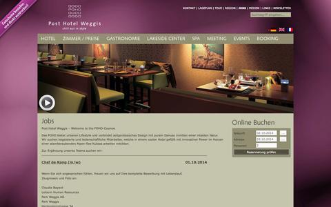 Screenshot of Jobs Page poho.ch - JOBS - Post Hotel Weggis - captured Oct. 2, 2014