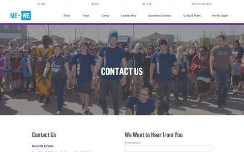 Screenshot of Contact Page metowe.com - Contact Us - ME to WE - captured Jan. 9, 2016