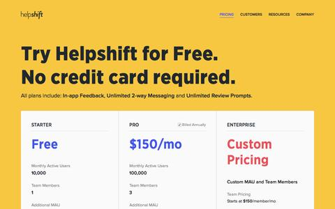 Screenshot of Pricing Page helpshift.com - Pricing | Helpshift - Mobile Customer Service Software and In-app Help Desk - captured Dec. 10, 2015