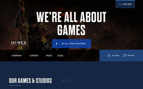 Screenshot of Home Page hirezstudios.com - Hi-Rez Studios - captured Aug. 12, 2019