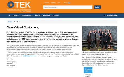 Screenshot of About Page tekproducts.com - About Us - captured Aug. 13, 2016