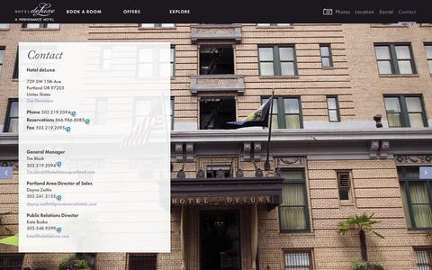 Screenshot of Contact Page hoteldeluxeportland.com - Contact - Hotel Deluxe - captured Sept. 23, 2014