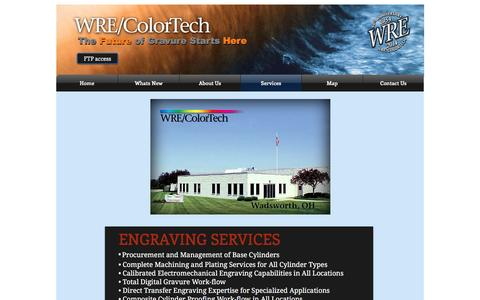Screenshot of Services Page wrecolor.com - WRE/ColorTech gravure cylinders | Services - captured Nov. 30, 2016