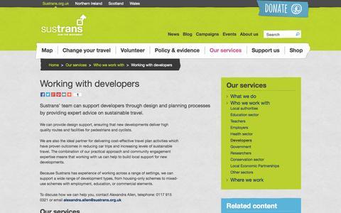 Screenshot of Developers Page sustrans.org.uk - Working with developers | Sustrans - captured Sept. 19, 2014