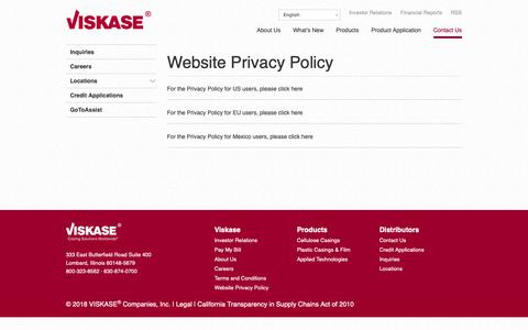 Screenshot of Privacy Page viskase.com - Website Privacy Policy | VISKASE® Companies, Inc. - captured Oct. 18, 2018