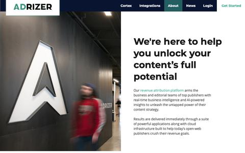 Screenshot of About Page adrizer.com - About - captured Feb. 14, 2019