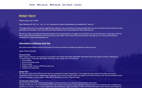 Screenshot of Privacy Page retailnetwerks.com - RNUK   Privacy Policy - captured Oct. 20, 2018