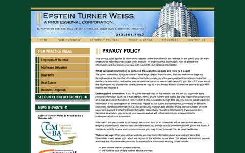 Screenshot of Privacy Page epsteinturnerweiss.com - Privacy Policy | Epstein Turner Weiss | - captured Sept. 28, 2018