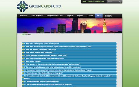 Screenshot of FAQ Page greencardfund.com - Green Card Fund | Arizona EB-5 Regional Center | FAQ - captured Oct. 3, 2014