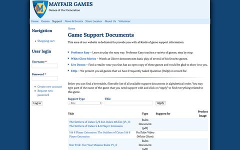 Screenshot of Support Page mayfairgames.com - Game Support Documents   Mayfair Games - captured Feb. 12, 2016