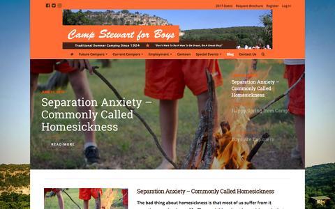 Screenshot of Blog campstewart.com - Blog   Camp Stewart for Boys - captured Oct. 20, 2016