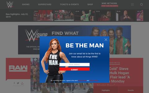 Screenshot of Home Page wwe.com - WWE News, Results, Photos & Video - Official Site   WWE - captured July 23, 2019