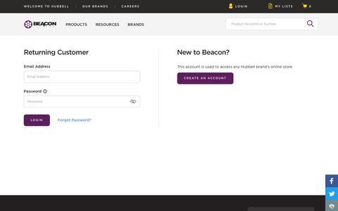 Screenshot of Login Page hubbell.com - Login | Beacon - captured Aug. 1, 2018