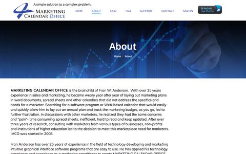 Screenshot of About Page marketingcalendaroffice.com - About – Marketing Calendar Office - captured July 26, 2018