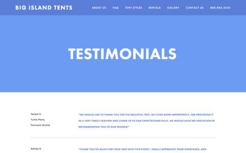 Screenshot of Testimonials Page bigislandtents.com - Testimonials — Big Island Tents - captured June 1, 2017
