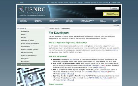 Screenshot of Developers Page nrc.gov - NRC: For Developers - captured Nov. 15, 2016