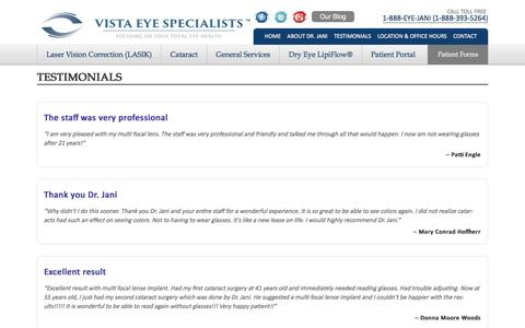 Screenshot of Testimonials Page vistaeyeva.com - Dry Eye Symptoms - captured Feb. 15, 2016
