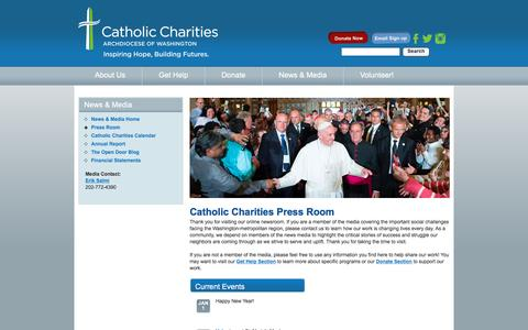 Screenshot of Press Page catholiccharitiesdc.org - News & Media - Press Room - Catholic Charities of the Archdiocese of Washington - captured Jan. 26, 2016