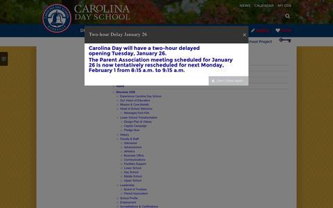 Screenshot of Site Map Page carolinaday.org - Carolina Day School: Site Map - captured Jan. 26, 2016