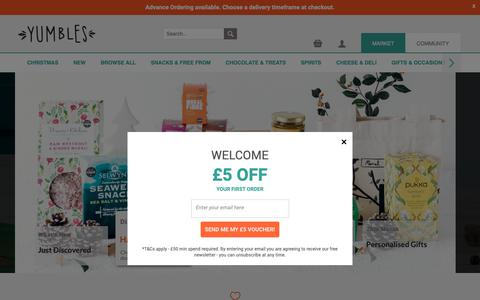 Screenshot of Home Page yumbles.com - Yumbles – the UK's artisan food market. From vegan chocolate and healthy hampers to gin gifts. - captured Dec. 10, 2018